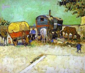 Vincent van Gogue - une caravane dans le paysage près d'Arles