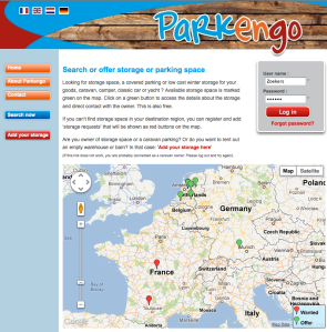 Website for caravan storage space - verry good idee